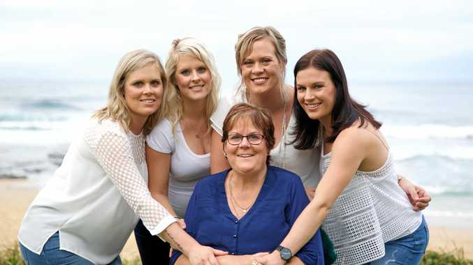 THE BEST MUM: Kath Bushnell surrounded by her daughters Sarah Gadsby, Jess Foreman, Katie Fulwood and Emily Gleeson on her last trip to the beach earlier this year.
