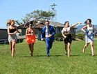 Lauren Dennison, Kelly Wolfe, Toby McIntosh, Holly Julius and Emily-Mae Rahmate, running down the track at Murwillumbah race track ahead of the upcoming meeting on Melbourne Cup day.