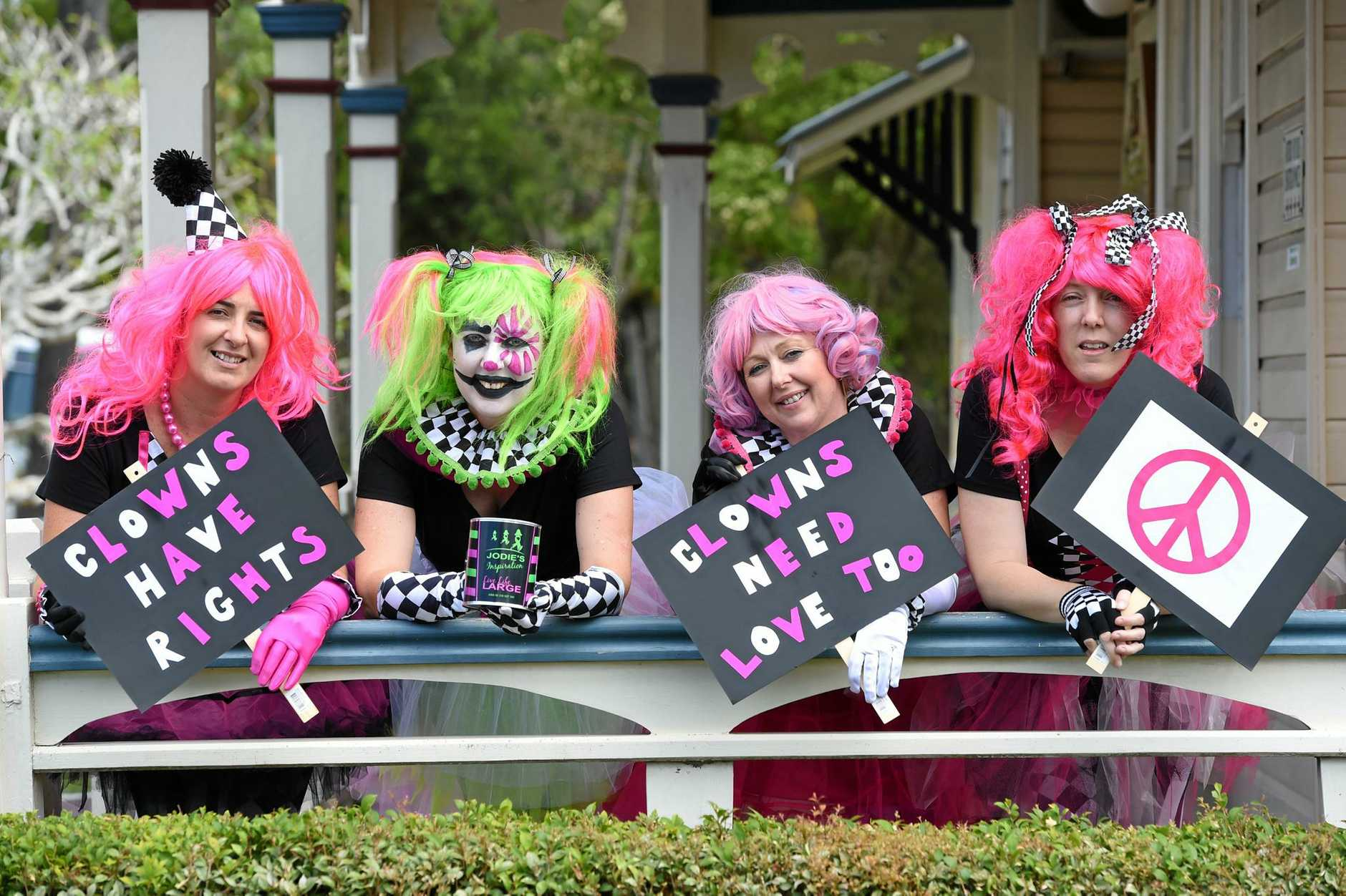TICKLED PINK: Lismore Clinic's friendly clowns Mel Rumble, Jodie McLean, Maree Cocciola and Kerry Drechsler are looking forward to the sold-out Pink Halloween event this weekend.