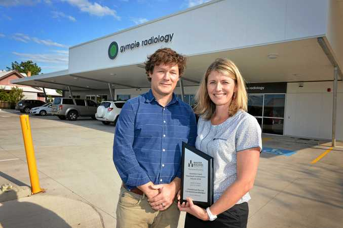 PROUD: Dr Drew McMenamin and medical liaison manager Corinne Whittaker out the front of Gympie Radiology's award winning building.