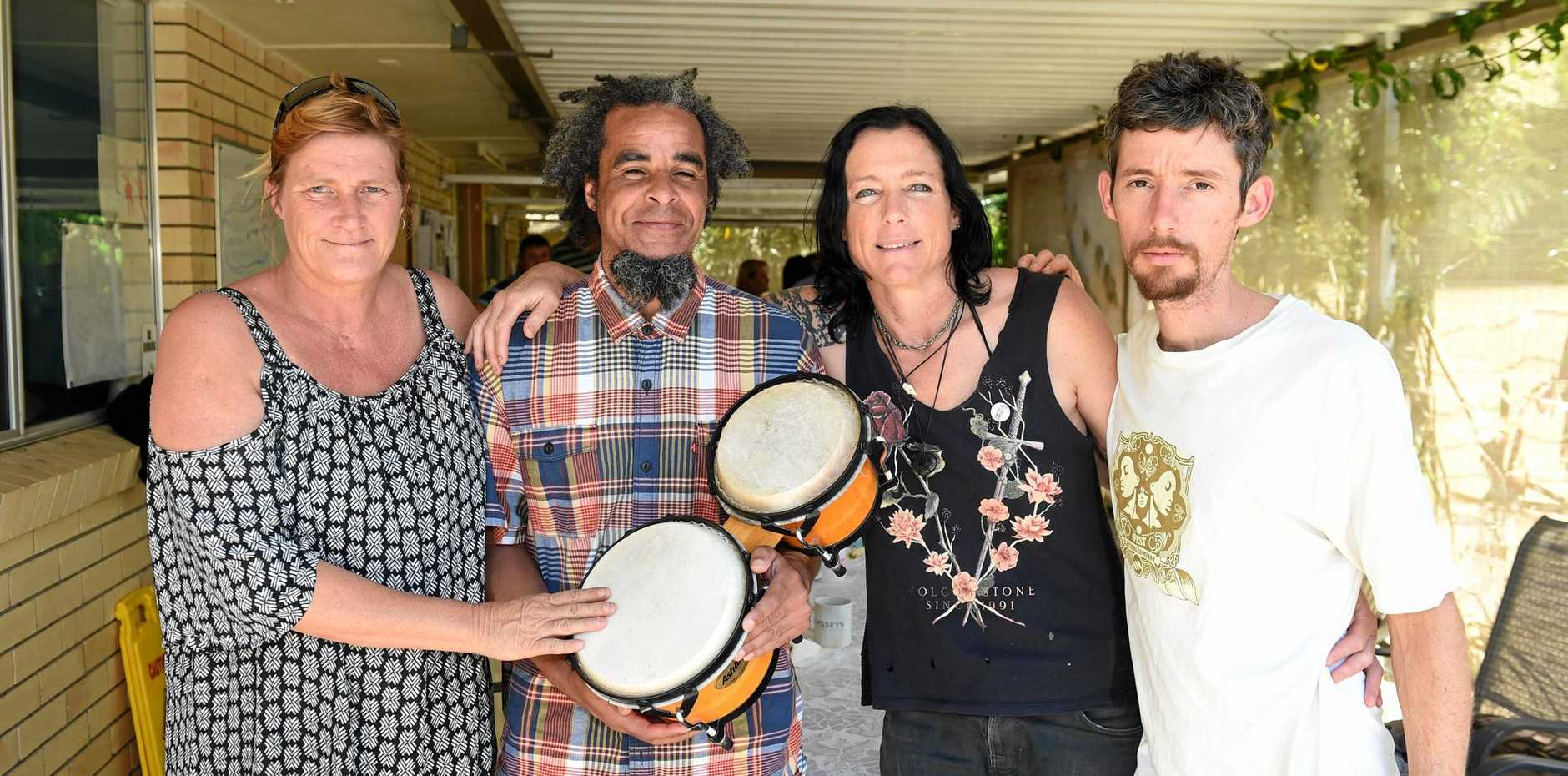 Terrill Tomlinson, Jason Etheridge, Tish McGeary and Josh Scrivenler attend a Mental Health Awareness event held in Tweed.
