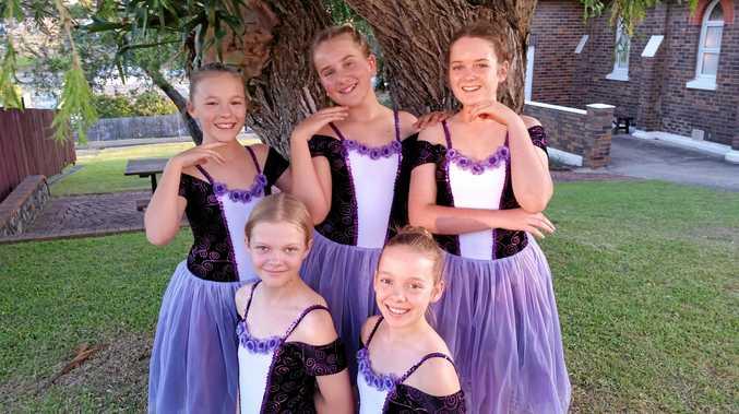 Ballet dancers on a break during rehearsal are Hope Solymosi, Aliyah Millard, Trista Morley, Grace Bekker and Paris Peterson.