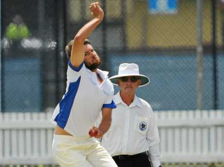 Bowling is Brad Chard. Cricket with Brothers [batting] vs Tucabi [fielding] at Ellem Oval in Grafton.Photo: Leigh Jensen / Daily Examiner14 March 2015