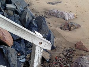 Sharp beach rocks at Scarness bring safety fears