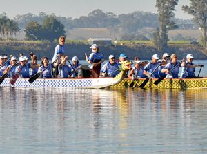 Dragon boat invasion on river for Jacaranda weeekend