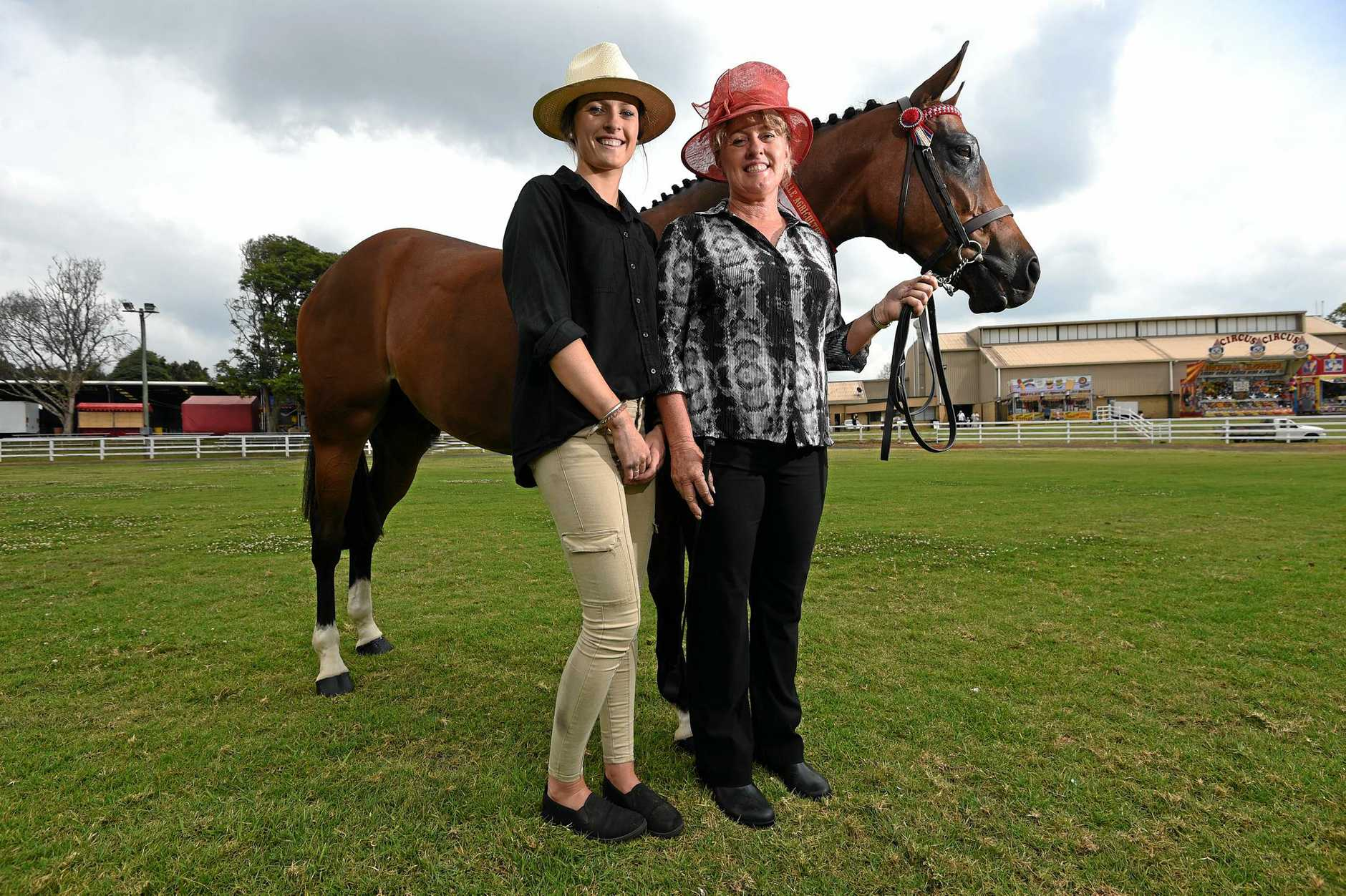 HAPPY HORSE: Charlee and Paula Anthony with Tremayne Royal Opera  on the first day of the Alstonville Agriculture Show.