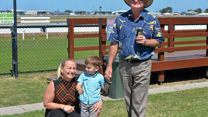Mackay trainer Olivia Cairns with her son Quaid and pop Greg Deveney after her horse, Pearly Avenue, won the first race on North Queensland Derby Day in October.
