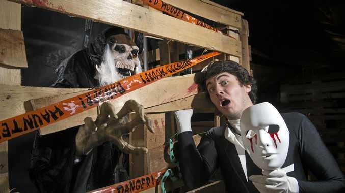 SPOOKY PARK: John Ward prepares for Halloween at Kloud9ine trampoline park.