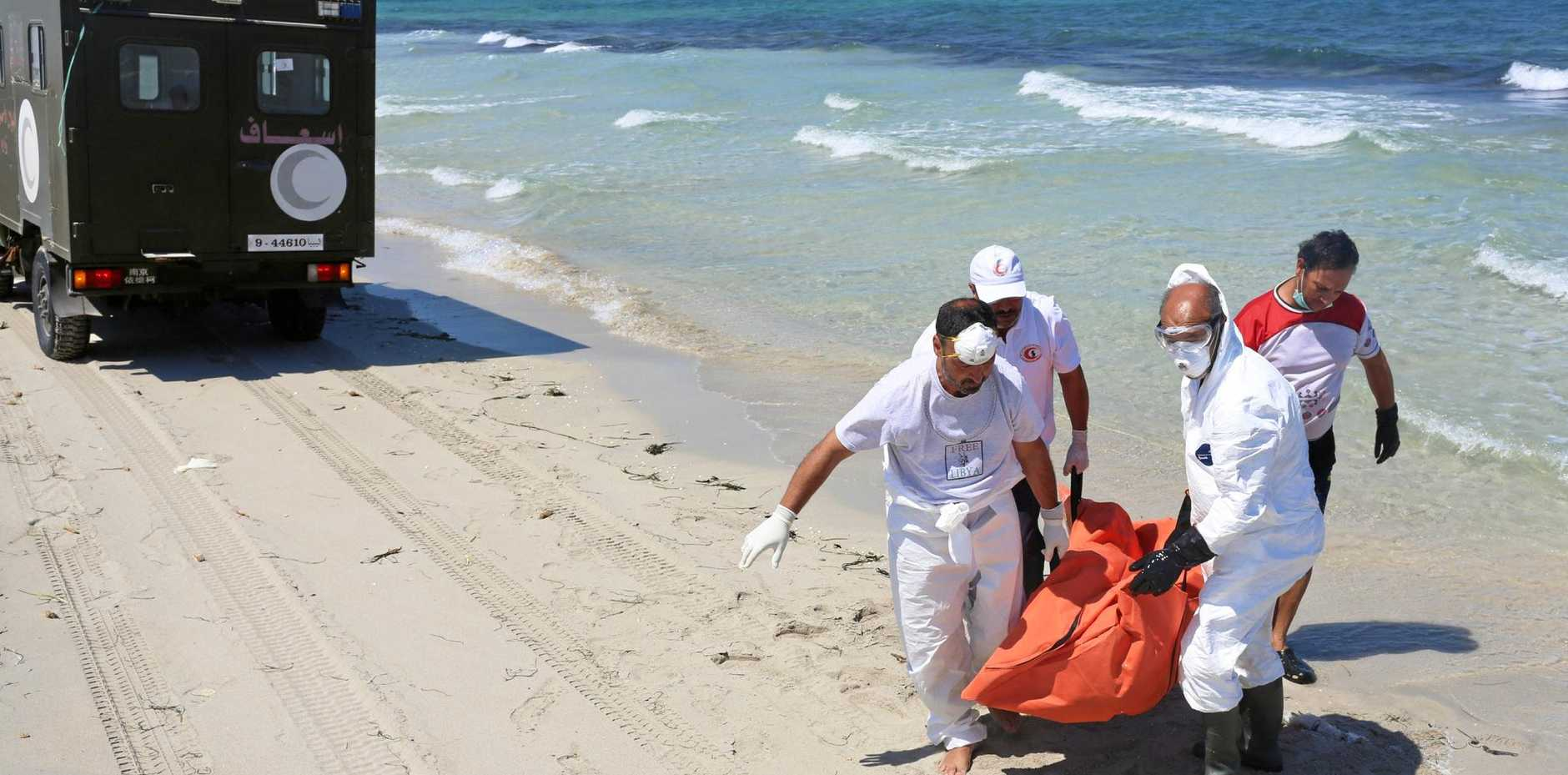 Libyan Red Crescent workers have retrieved numerous bodies from the sea over the past year.