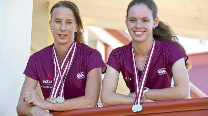 Toowoomba athlete Nicole Maynard (left), with training partner Lily Burns, is making promising progress towards the 2018 Commonwealth Games on the Gold Coast.