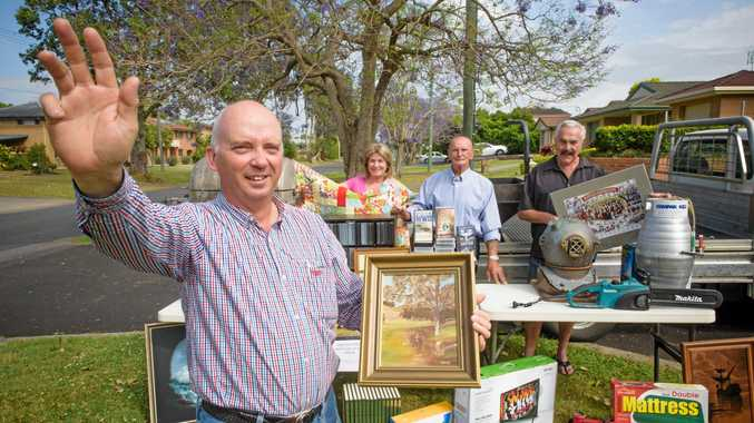 Auctioneer Don Morgan with Marie Gough, John Moerenhout and Allan Gough show off some of the goods available as part of an auction to be held after the Copmanhurst campdraft raising money for St Joseph's Cowper Homes.