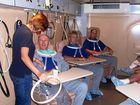 Patients at the Wesley Centre for Hyperbaric Medicine receiving treatment in the Hyberbaric Oxygen Therapy treatment chamber.