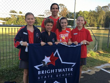 Shania Turnbull, Kane Butcher, Gemma Roake and Angelina Leth from Brightwater State School, with deputy principal Marc Baker.