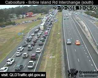 Traffic backed up on the Bruce Hwy