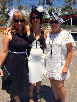 Karen Beck, Justine Pree and Trish Simpson at Yeppoon Races.