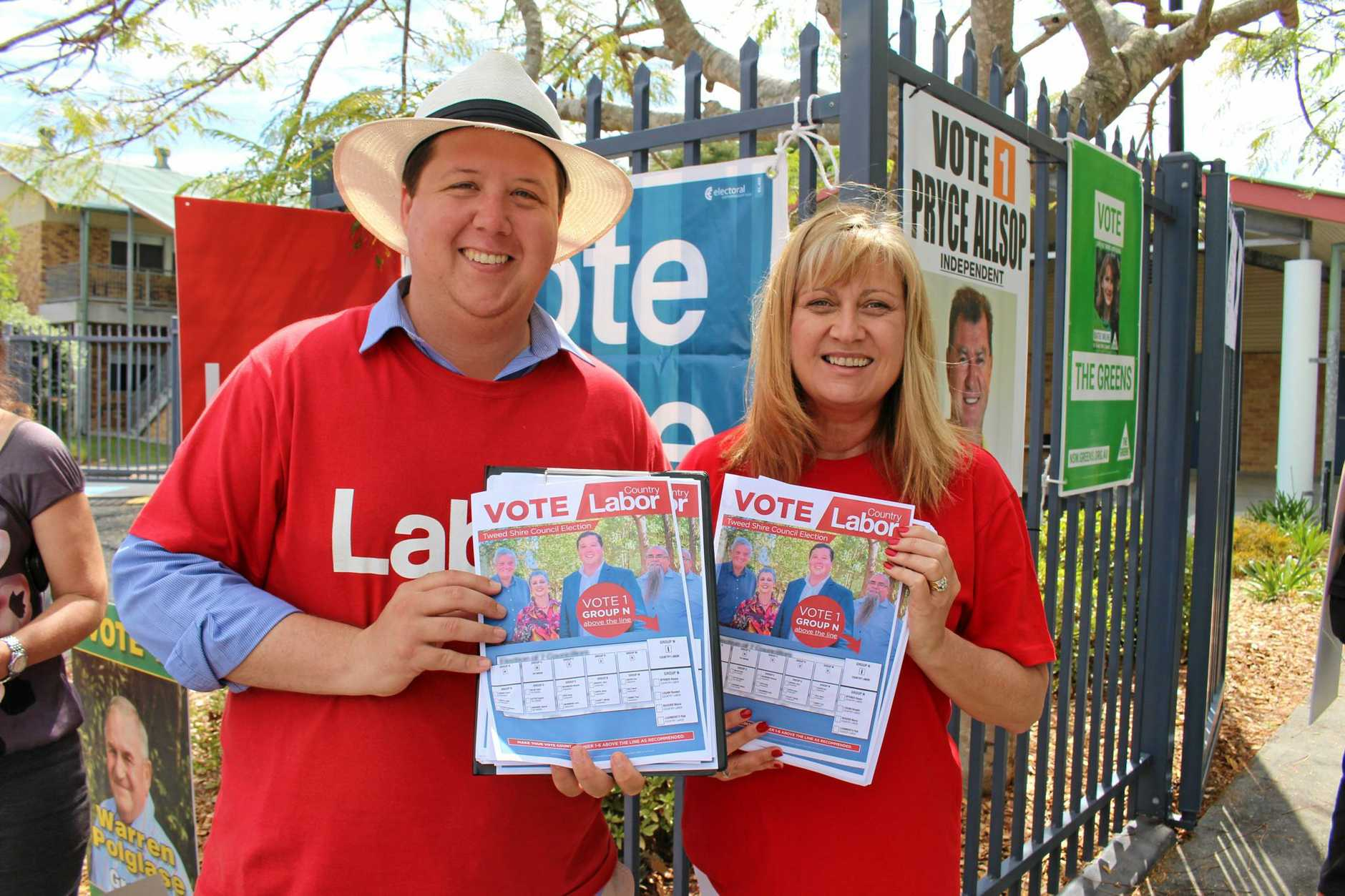 Labour candidate for the Tweed Shire Council Reece Byrne had support from Richmond MP Justine Elliot on election day.