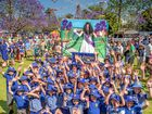 Grafton Public School students celebrate after their banner was judged the winning banner for the parade of youth.