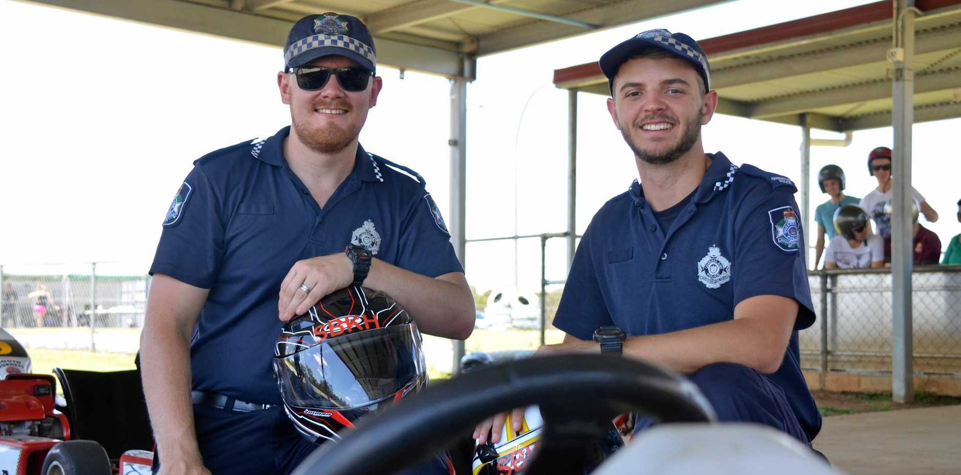 Constable Andrew Kendall and Constable Tyler Roberts came up with the idea for Nanango Police event Take it to the Track, which promoted awareness for road safety. Event on October 29, 2016.