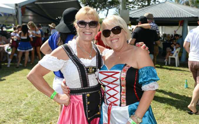 L-R Sylvia Steffek and Christina Harrison at the Emu Park Lions Club Octoberfest on Saturday.