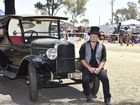 Jaymin McEwan and the car, that belonged to his grand-father which he has lovingly restored. Queensland Heritage Rally at Oakey Showgrounds. October 30, 2016