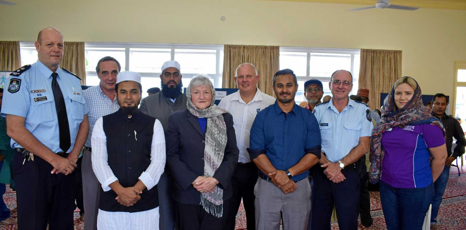 "OPEN DAY""  (back row, from left) Superintendent district officer Ron Van Saane, Father Peter Tonti, Imam Mohammed Akram Buksh, CQUniversity vice chancellor Scott Bowman, Senior Sergeant Ashley Hull. Front: Mojib Ullah, Cr Rose Swadling, Binil Kattiparambil and Emma Dalton."