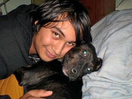 Lee Knight, with his lost and found dog Dammit as a puppy.