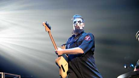 Slipknot's Jim Root at the Brisbane Entertainment Centre performing on their headline tour for The Grey Chapter.