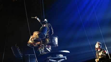 Slipknot stage drummer Chris Fehn during the performance at the Brisbane Entertainment Centre.