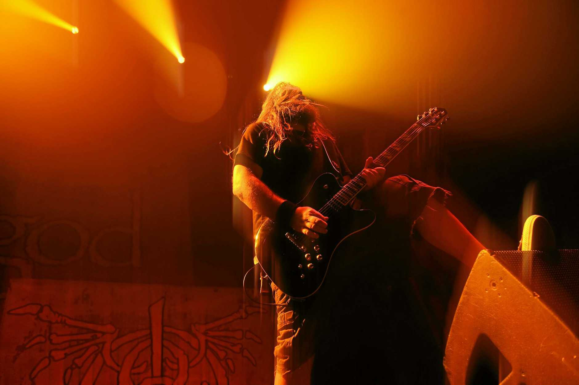 Lamb of God guitarist Mark Moreton during the song '512' at the Brisbane Entertainment Centre.