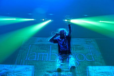Randy Blythe belts out the vocals during Lamb of God's set at the Brisbane Entertainment Centre.