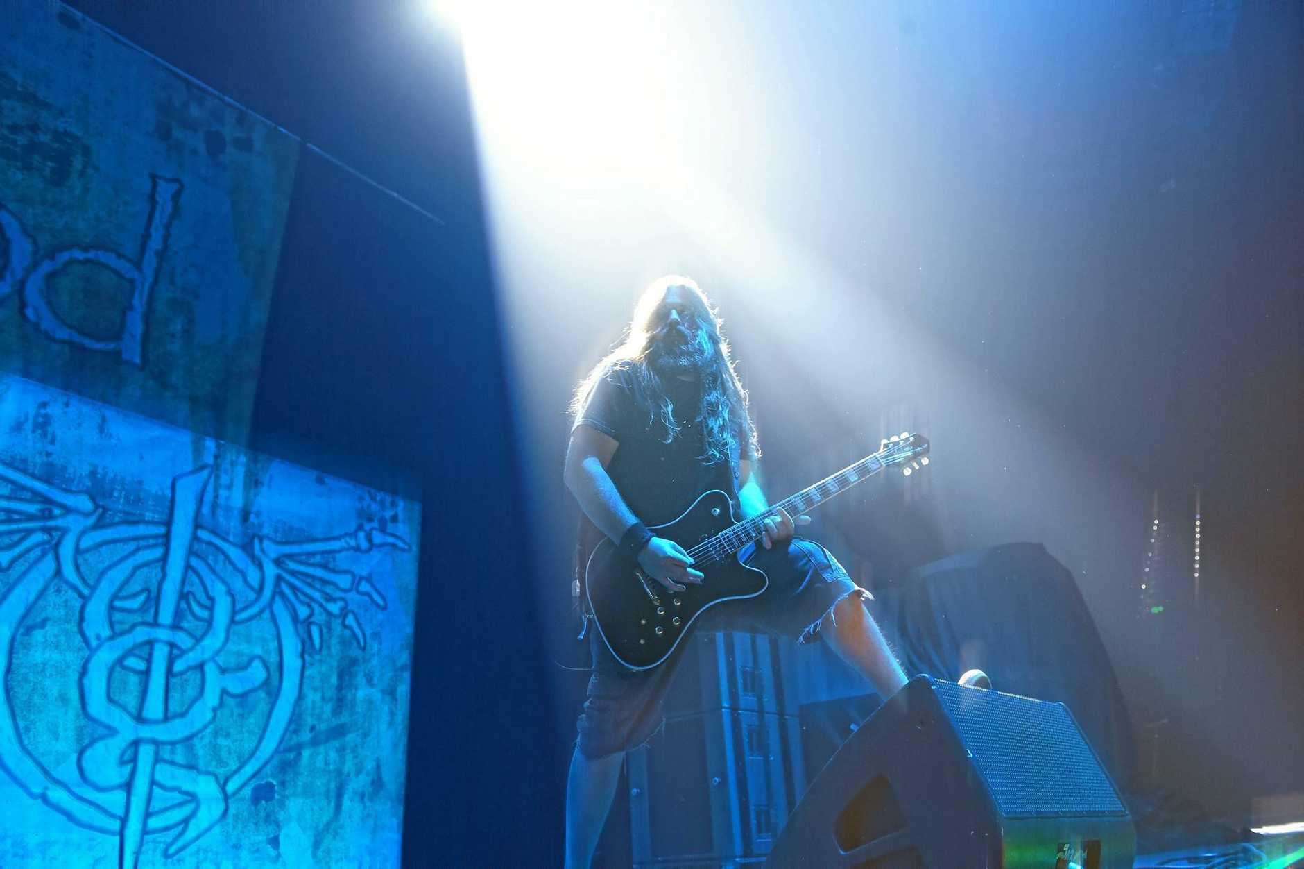 Lamb of God's Mark Moreton during the gig at the Brisbane Entertainment Centre.