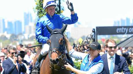 Oceanographer riden by Kerrin Mcevoy after winning the Lexus Stakes on Derby Day at Flemington Racecourse in Melbourne, Saturday, Oct. 29, 2016. (AAP Image/Mal Fairclough) NO ARCHIVING, EDITORIAL USE ONLY