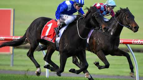 Dylan Dunn riding Lahqa defeats his father Dwayne Dunn riding Weather the Storm  at Sandown Lakeside in May.