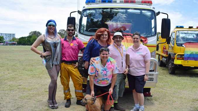 EQUALITY: Vollie LaVont, Connor Groves, Wanda Dparke, Christos Aristidou, Gemma Mann and Kelly Drake with her pooch at the CQ Fair Day.