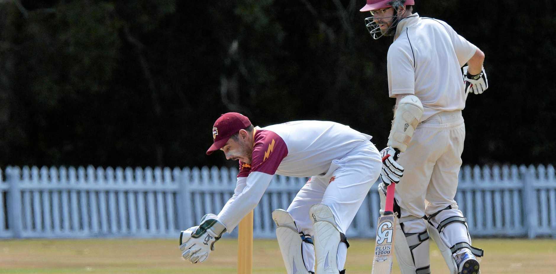 ON THE BALL: Tewantin-Noosa wicket keeper Michael Harrison on Saturday.