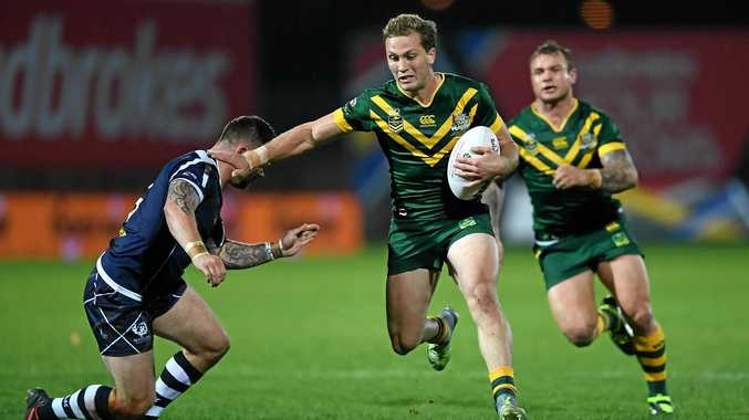 Matt Moylan of Australia in action during the Four Nations match against Scotland in Hull.