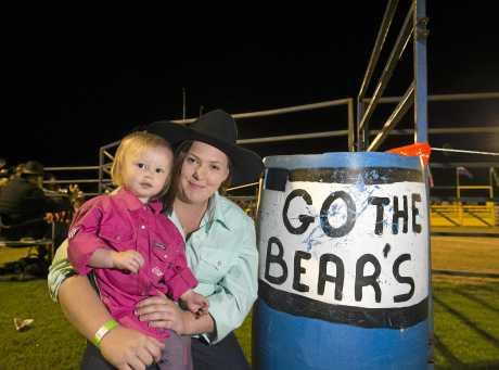 Supporting the Oakey Bears are Felicity Berry and mum Miah Ward at the Bull and Bronc Rodeo fundraiser as the club fight to stay in TRL competition.