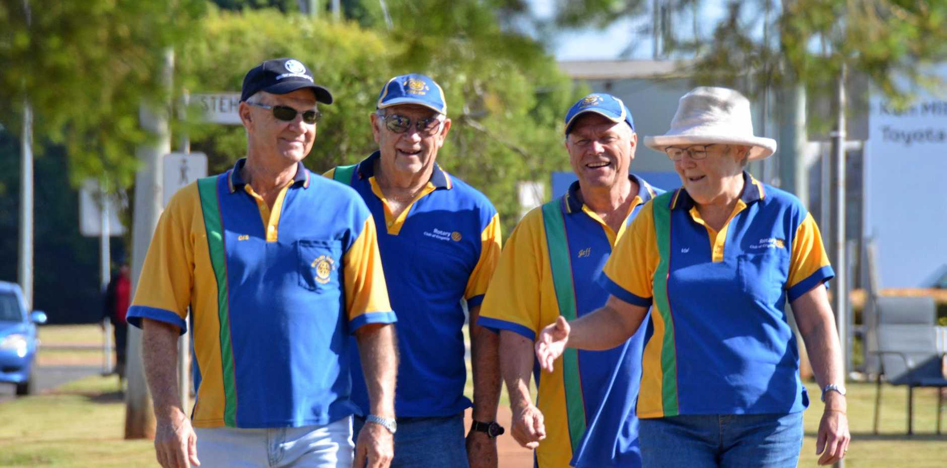 IN THE FRESH AIR: Kingaroy Rotary members Des Cook, Lex Petersen, Jeff Castledine and Val Hooper on the Walk for Mental Health.