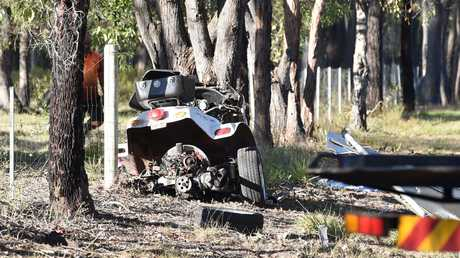 A mangled trike at the scene of a fatal accident on Old Toogoom Rd. near the Beelbi Creek causeway.