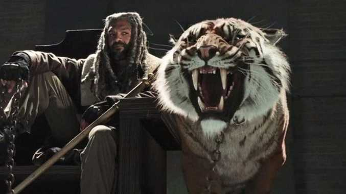 King Ezekiel with his pet tiger, Shiva.