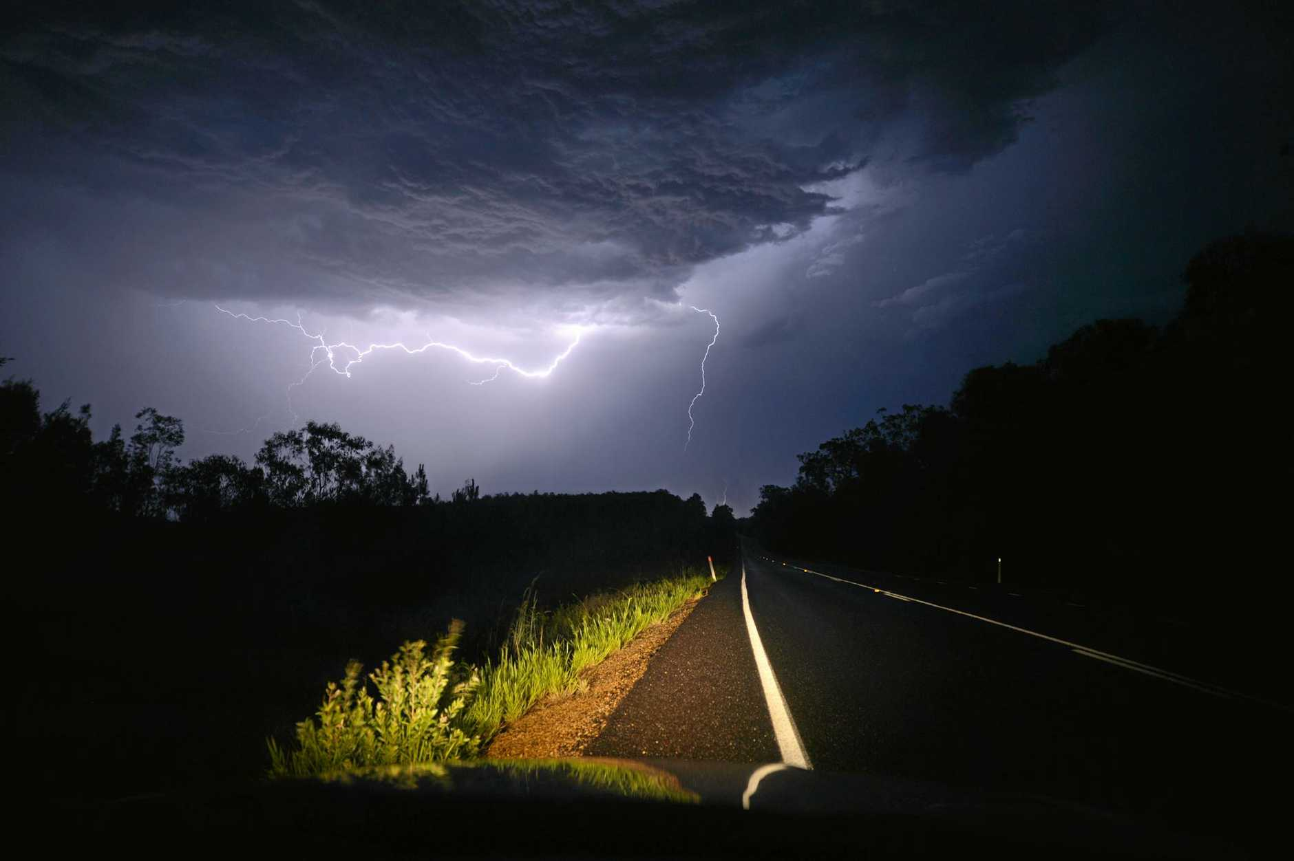 Emergency service crews urge anyone driving during a severe storm to pull over and let it pass.