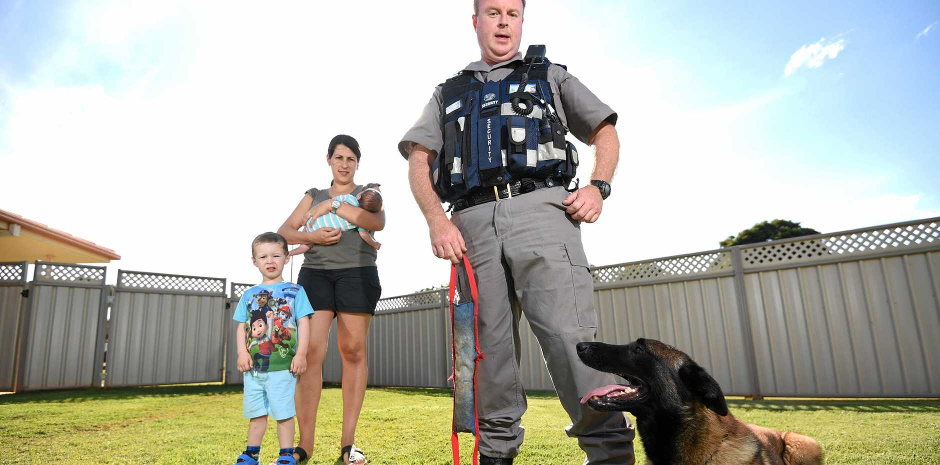 ON GUARD: Meridian Protection Group Ballina owner Rick Beddoes with his wife Carol, son Justin, 3, and newborn Ben.