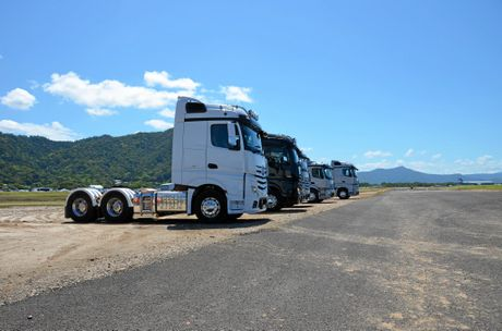 LINE 'EM UP: The Actros range in all its glory at the Cairns launch.
