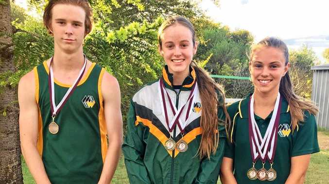 Lockyer District Athletics Club national qualifiers (from left) Joel Walk, Annie McGuire and Hayley Reynolds.
