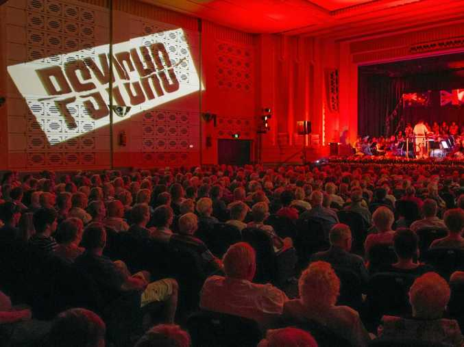 The Saraton Theatre is turned blood red as the music from thrillers such as Psycho was played at the Afternoon at the Proms concert