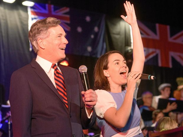 MC Nicholas Hammond sings from the Sound of Music score with Lisa Butcher at the Afternoon at the Proms concert