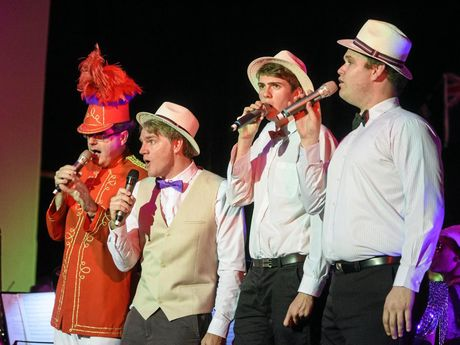Greg Butcher, Dan Fahey, Connor Willmore and Troy Castle sing as part of a barbershop quartet singing from the Music Man score at the Afternoon at the Proms concert