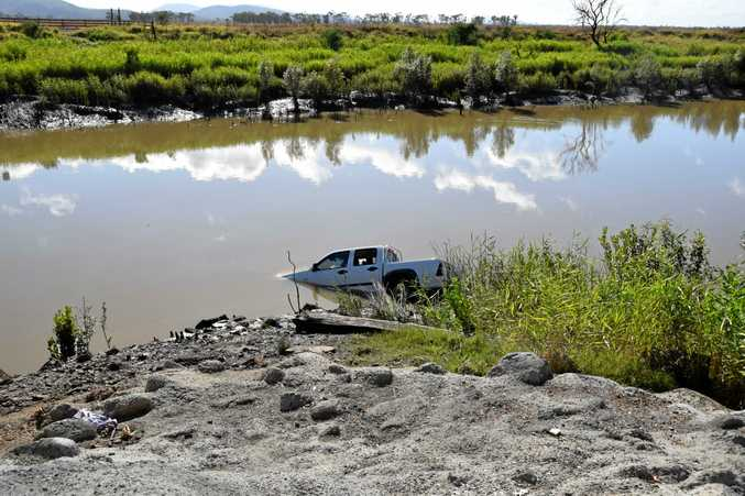 A Holden Rodeo ute found abandoned in the Fitzroy River.