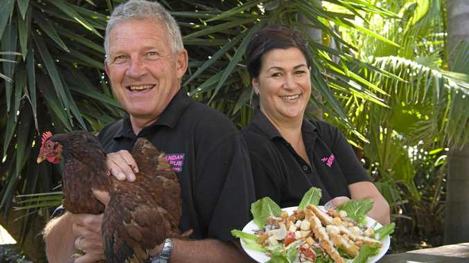 TOP SPOT: Meringandan Hotel's Geoff Murphy and Marie Purser show off their over-sized tasty meals.