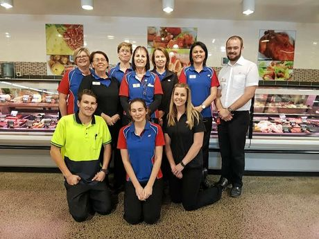 FRONT: Jack Shaw, Matilda Evans and Kacee Haydon (liquor manager)  BACK: Karen Collett (Deli Manager), Dorelle Newton (grocery manager), Leanne Roberts (produce manager), Kim Kramer, Deb Pyne (perishables manager), Jo Kempshall, Cole Anderson (store manager)